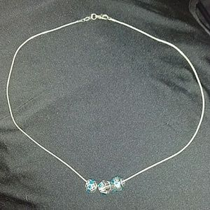 Metal Bead and Blue Stone Neclace
